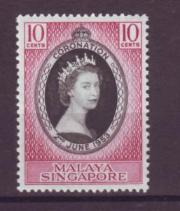 J21364 Jlstamps 1953 singapore set of 1 mnh #27 queen