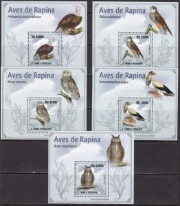 Sao Tome and Principe, Fauna, Birds of Prey LUX S/S. MNH / 2009