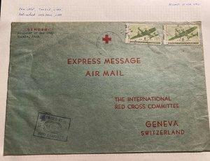 1940s Tooele USA Prisoner Of War Camp POW Cover To Red Cross Geneva Switzerland