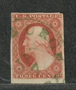 US Sc#11 Used/EF, Jumbo Green Cancel Tiny 3/4mm Tear Right Margin