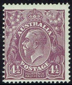 AUSTRALIA 1926 KGV 41/2D MNH ** SMALL MULTI WMK PERF 13.5 X 12.5