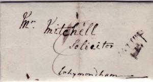 Great Britain Halton 1816 sl with ms 8 on Stampless Folded Letter Domestic use.