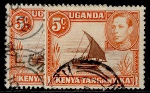 KENYA UGANDA TANGANYIKA GVI SG133 + 133a, 5c PERF VARIETIES, FINE USED. Cat £14.