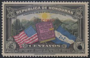 HONDURAS 1937 FLAG OF USA Sc C84 Sanabria AS185 PERF PROOF SPECIMEN MNH VF
