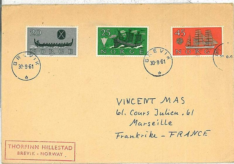 POSTAL HISTORY : NORWAY - COVER to FRANCE - SHIPS \ BOATS - 1961