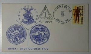TRIPEX I EX Sta Omaha NE 1972 Great Seal Of IA & NE Philatelic Expo Cachet Cover