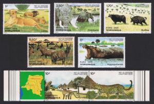 Zaire Leopard Hippo Elephant Lion Monkeys Wild Animals Virunga 5v+strip of 2