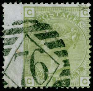 SG153, 4d sage-green plate 15, FINE USED. Cat £325. GG