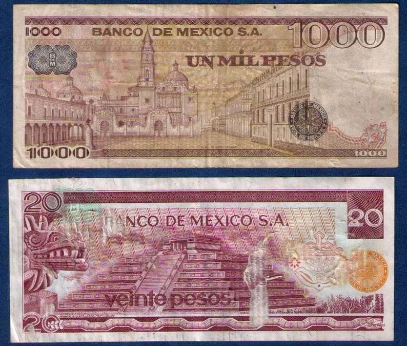 Banknotes 1972 & 1978 Mexico El Banco De Mexico (2) Banknotes Circulated Used