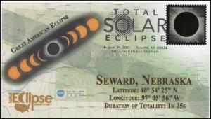 17-208, 2017, Total Solar Eclipse, Seward NE, Event Cover, Pictorial Cancel