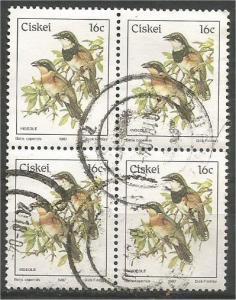 CISKEI, 1981, used 16c block, Birds, Scott 19