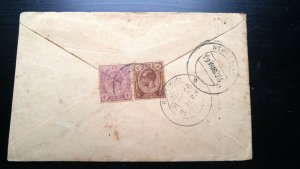 VERY RARE MALAYA STRAITS SETTLEMENT 1922 COVER TO INDIA WITH RECEIVING CANCEL