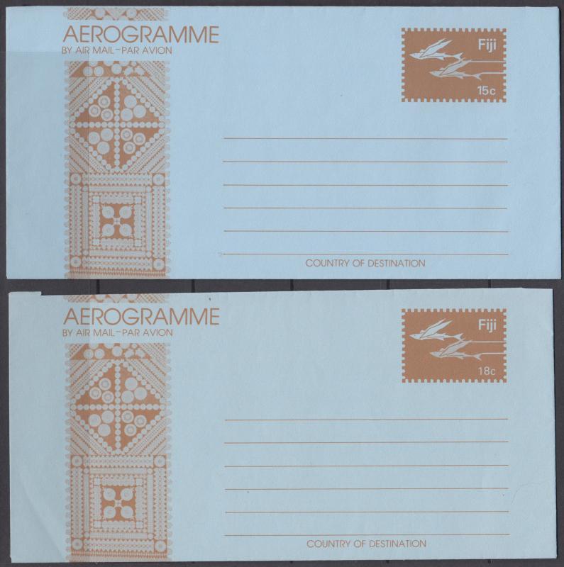 Fiji mint c. 1990 15c + 18c Flying Fish Aerogrammes, F-VF