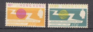 J27768 1965 hong kong set mnh #221-2 ITU