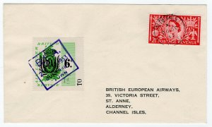(I.B-CK) Cinderella Collection : Alderney-Guernsey BEA Air Letter Cover (1953)