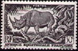 Black Rhinoceros & Rock Python, Fr. Equatorial Africa SC#167 MNH