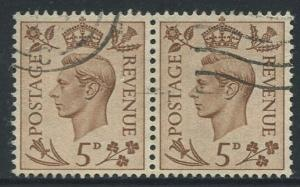 Great Britain - Scott 242 -KGVI Definitive -1937 -FU -Horiz.Pair of 5p Stamp