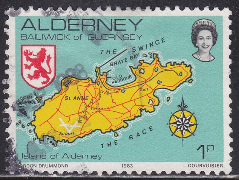 Alderney 1 Hinged 1983 Map of the Island