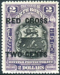 NORTH BORNEO-1918 $2 + 2c Lilac.  A lightly mounted mint example Sg 232