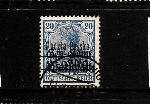POLAND  1918-19  20pf   ULTRAMARINE   FU  Sc 21a