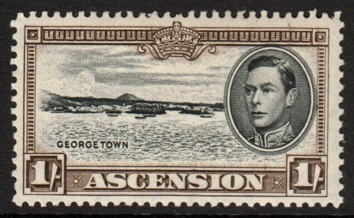 Ascension KGVI 1938 1s 1/- Black Sepia SG44a Mint Lightly Hinged