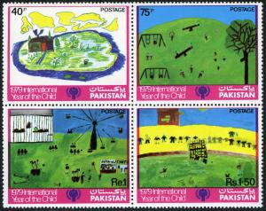 Pakistan 494-497a blk/4, MNH. IYC. Emblem, Children's drawings, 1979