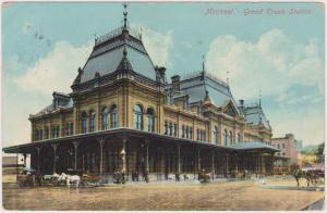 Canada to USA - 1910 View Card Montreal Grand Trunk Station