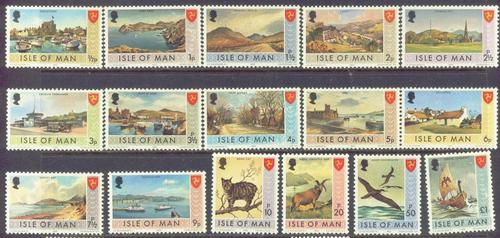 Isle of Man  12-27 MNH 1973 Pictorial Definitives