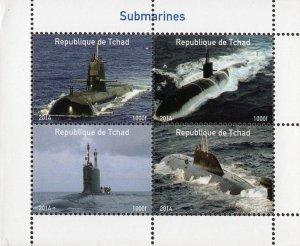Chad 2014 Submarines 4v Mint Souvenir Sheet S/S. (#122)