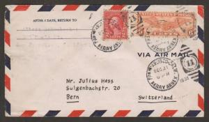 US Sc 634, C17 on 1938 Air Mail cover San Francisco to Bern, Switzerland