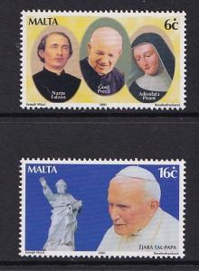 Malta   #1050-1051   MNH  2001   visit Pope