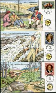 #3854-56 COLLINS HAND PAINTED FDC CHT (3) DIFF WITH ATCHINSON, KS CANCEL BP7263