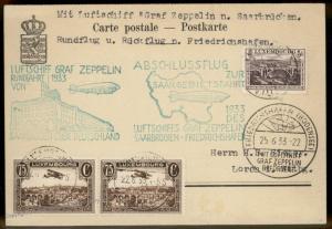Luxemburg 1933 Zeppelin Saar DOUBLE CACHET Flight Si218D Cover 91371