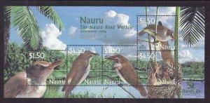 Nauru-Sc#522-Unused NH sheet-Birds-Reed Warbler-
