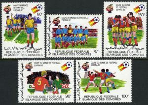 Comoro Islands 507-511, MI 614-618, MNH. World Soccer Cup, Spain 1982