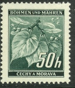 BOHEMIA AND MORAVIA 1939-41 50h Linden Leaves and Buds Pictorial Sc 26 MH