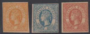 BC IONIAN ISLANDS 1859 QV Sc 1-3 FULL SET FORGERIES UNGUMMED PAPER (CV$355)