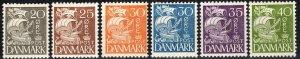 Denmark #232, 234-8  F-VF Unused   CV $54.85 (X1987)