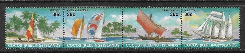 Cocos Islands ~ Scott # 158 ~ MNH ~ Sailboats