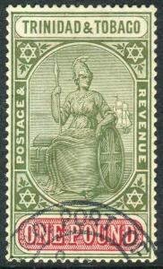 TRINIDAD & TOBAGO-1921-22 £1 Green & Carmine.  A fine used example Sg 215