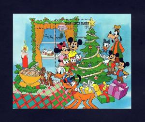 TURKS & CAICOS - 1983 - DISNEY - MICKEY - MINNIE - CHRISTMAS TREE - MINT S/S!