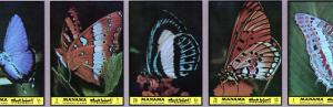 Manama 1972 Butterflies Strip of 5 Imperf.MNH Mi.#962/D962B
