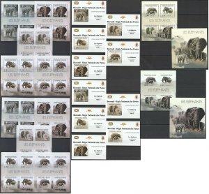 BU60 IMPERF,PERF 2012 BURUNDI FAUNA WILD ANIMALS ELEPHANTS !!! 12BL+12KB MNH