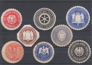 Germany, embossed Municipal & State Seals, 8 diff, VF appearing