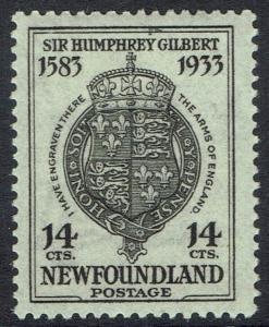 NEWFOUNDLAND 1933 350TH ANNIVERSARY 14C ARMS PERF 13.5
