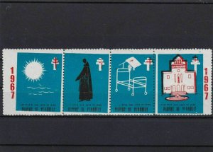 charity cinderella  mint never hinged  stamps strip  ref r8788