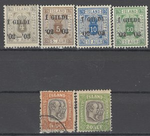 COLLECTION LOT OF # 1698 ICELAND 6 OFFICIAL STAMPS 1902+