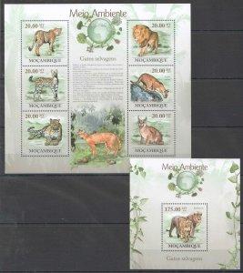BC1318 2010 MOZAMBIQUE FAUNA ENVIRONMENT ANIMALS WILD CATS SELVAGENS KB+BL MNH