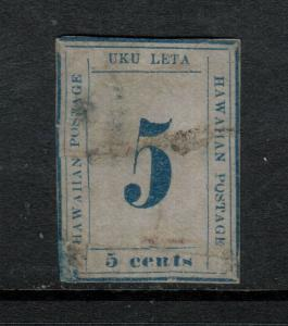 Hawaii #21 Used With Removed Cancel & Has Flaws As Indicated On Certificate