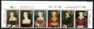 Great Britain King Henry VIII - his 6 Wives 6v Top Strip Control SG#1965-1971